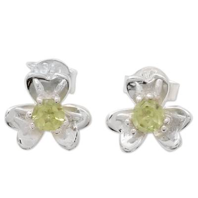 Floral Peridot and Silver Button Earrings from India