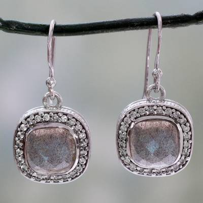 Labradorite dangle earrings, 'Starlight and Mist' - India Artisan Crafted Labradorite CZ Earrings with Silver