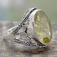 Quartz cocktail ring, 'Lemon Crown' - India Lemon Quartz Sterling Silver Cocktail Ring