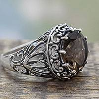Smoky quartz cocktail ring, 'Lotus Embrace' - Smoky Quartz and Sterling Silver Cocktail Ring from India