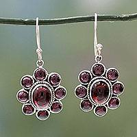 Garnet flower earrings, 'Raspberry Blossom' - Floral Jewelry Sterling Silver and Garnet Hook Earrings