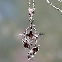 Garnet cross necklace, 'Sacred Trinity' - Garnet and Silver Cross Pendant Necklace from India