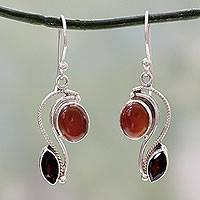Carnelian and garnet dangle earrings, 'Colorful Curves'