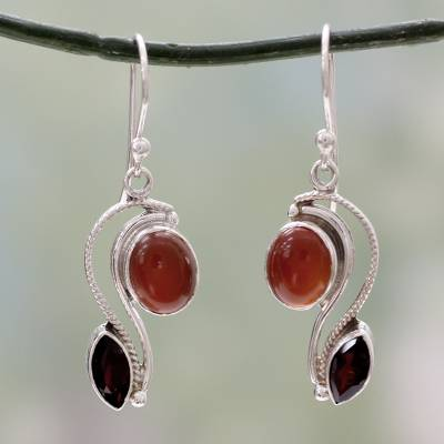 Carnelian and garnet dangle earrings, 'Colorful Curves' - SIlver Handcrafted Carnelian and Garnet Earrings from India