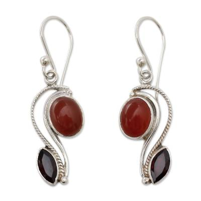 SIlver Handcrafted Carnelian and Garnet Earrings from India