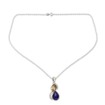 India Silver and Lapis Lazuli Necklace with Faceted Citrine