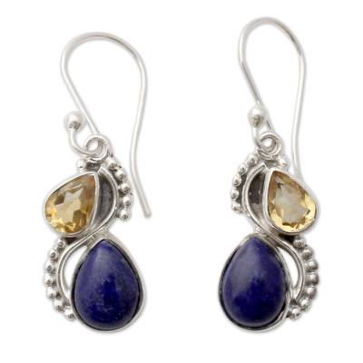 Silver and Lapis Lazuli Earrings with Faceted Citrine