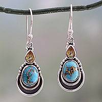 Citrine dangle earrings, 'Eternal Allure' - Silver Hook Earrings with Citrine and Composite Turquoise