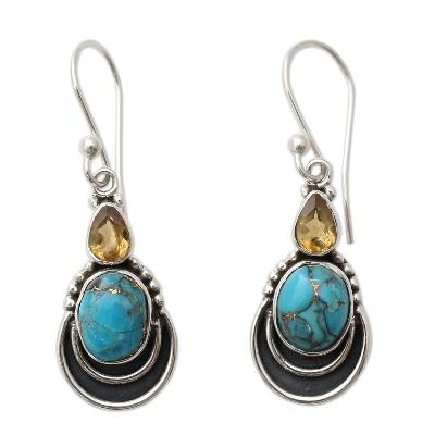 Silver Hook Earrings with Citrine and Composite Turquoise