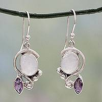 Rainbow moonstone and amethyst dangle earrings, 'Twilight' - Rainbow Moonstone Earrings with Amethyst And Silver