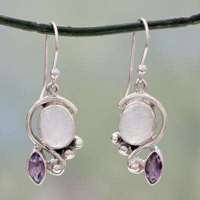 Rainbow Moonstone And Amethyst Dangle Earrings Twilight With