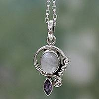 Rainbow moonstone and amethyst pendant necklace, 'Yours Forever' - Rainbow Moonstone Handcrafted Amethyst Silver Necklace