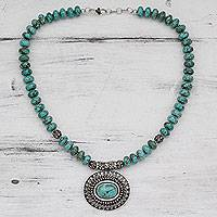 Turquoise pendant necklace, 'Royal Sky Goddess' - Natural Turquoise Necklace with Sterling Silver