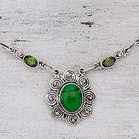 Peridot pendant necklace, 'Woodland Halo' - Peridot and Silver 925 Necklace with Composite Turquoise