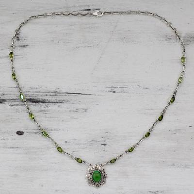 Peridot and Silver 925 Necklace with Composite Turquoise