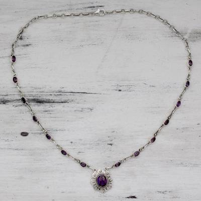 Amethyst pendant necklace, 'Purple Halo' - India Amethyst an Silver Necklace with Composite Turquoise