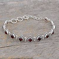Garnet tennis bracelet, 'Deep Red Diamonds'