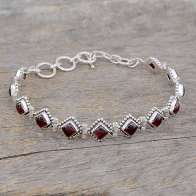 Garnet tennis bracelet, 'Deep Red Diamonds' - Red Garnet Artisan Crafted India Silver Tennis Bracelet