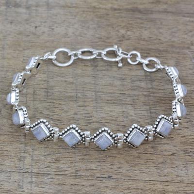 Rainbow moonstone tennis bracelet, 'Misty Diamonds' - Handcrafted Rainbow Moonstone India Silver Tennis Bracelet
