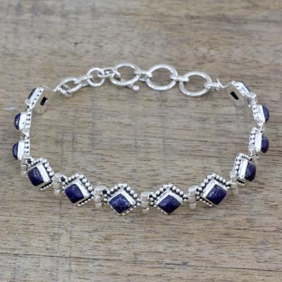 Lapis lazuli tennis bracelet, 'Deep Blue Diamonds' - India Lapis Lazuli and Sterling Silver Tennis Bracelet