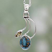 Citrine pendant necklace, 'Modern Mystique' - Citrine Silver Necklace with Composite Turquoise