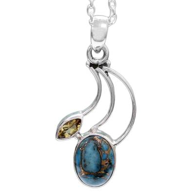 Citrine Silver Necklace with Composite Turquoise