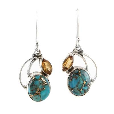 Artisan Crafted Turquoise and Citrine Dangle Earring