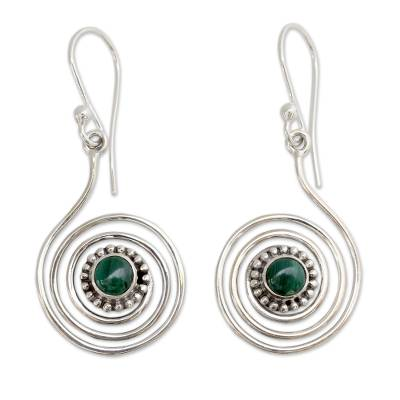Malachite dangle earrings, 'Spiral Forest' - Malachite and Sterling Silver Earrings from India