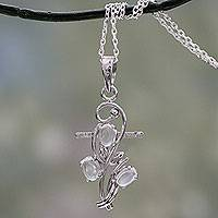 Moonstone cross pendant necklace, 'Blessed Trinity' - Handmade Silver Cross Necklace with Moonstones