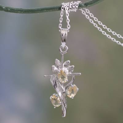 Tiny silver pendant necklace - Rhodium Plated Citrine Cross Pendant Necklace