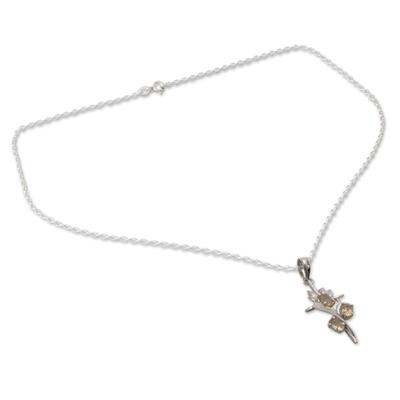 Citrine cross pendant necklace, 'Golden Cross' - Rhodium Plated Citrine Cross Pendant Necklace