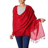 Wool shawl, 'Valley of Kashmir in Red' - Women's Red All Wool Woven Shawl from India