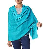 Wool shawl, 'Valley Mist in Turquoise' - Turquoise Blue Woven Wool Shawl from India