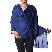 Wool shawl, 'Valley Mist in Cobalt'