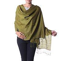 Wool shawl, 'Valley of Kashmir in Sage' - Soft Sage Green Woven Wool Shawl Crafted in India