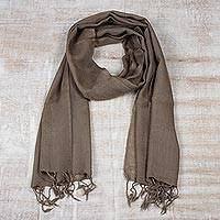 Men's wool scarf, 'Kashmiri Taupe' - Men's Lightweight Taupe Wool Scarf