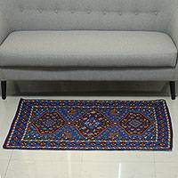 Wool chain stitch rug, 'Valley of Hope III' (3x5) - Multicolored Indian Chain Stitch Rug Crafted from Wool (3x5)