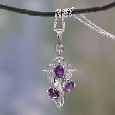 Amethyst cross pendant necklace, 'Holy Trinity' - Amethyst and Silver Cross Necklace with Rhodium Plating