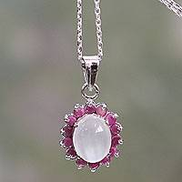 Ruby and moonstone pendant necklace, 'Love and Devotion' - Pendant Necklace with Ruby and Moonstone