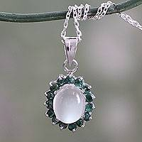 Emerald and moonstone pendant necklace, 'Love and Devotion'