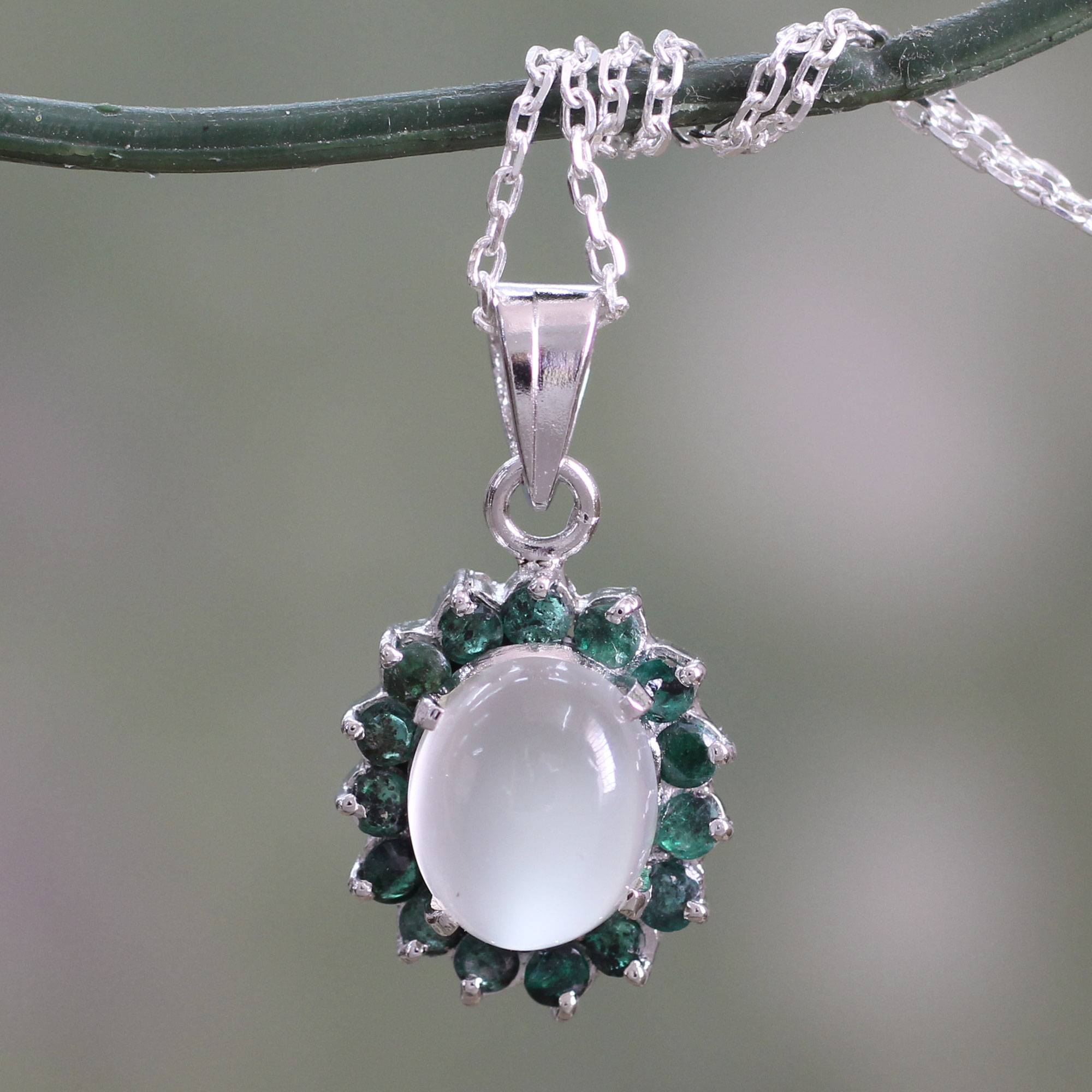 Pearl Jewellery Necklace >> Unicef UK Market | Sterling Silver Necklace with Emerald and Moonstone - Love and Devotion