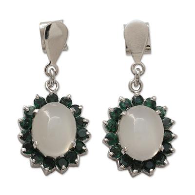 Indian Emerald and Moonstone Dangle Earrings
