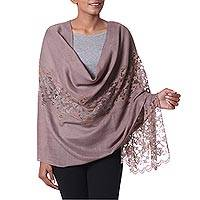 Wool blend shawl, 'Impeccable Kashmir' - Taupe Wool and Viscose Blend Shawl with Lace Trim