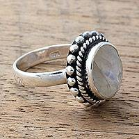 Rainbow moonstone cocktail ring, 'Enamored by Moonlight' - Sterling Silver and Rainbow Moonstone Single Stone Ring