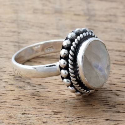 silver ring chain magic bands - Sterling Silver and Rainbow Moonstone Single Stone Ring