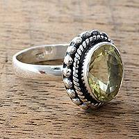 Lemon quartz cocktail ring, 'Enamored by Sunshine' - Fair Trade Artisan Jewelry Lemon Quartz and Silver Ring