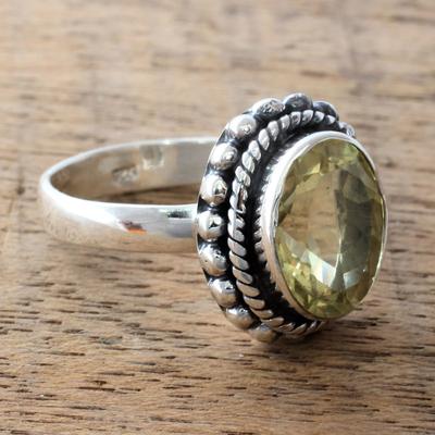 Lemon quartz cocktail ring, 'Enamored by Sunshine' - Fair Trade Artisan jewellery Lemon Quartz and Silver Ring
