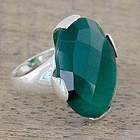 Green onyx cocktail ring, 'Verdant Magic' - Cocktail Ring with 10 Carat Green Onyx Gemstone