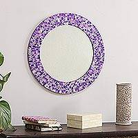 Glass mosaic wall mirror, 'Purple Caprice' - Round Wall Mirror and Frame Handcrafted with Mosaics