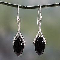 Onyx dangle earrings, 'Wishbone' - Polished Sterling Silver and Onyx Dangle Earrings